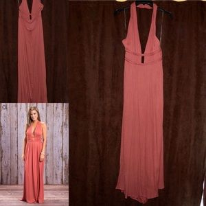 Dusty Coral Halter Maxi Dress-Never Been Worn